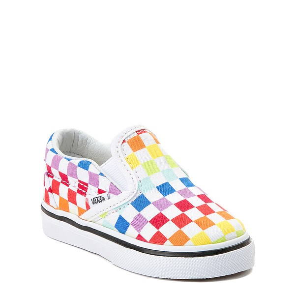 alternate view Vans Slip On Rainbow Checkerboard Skate Shoe - Baby / Toddler - MultiALT1