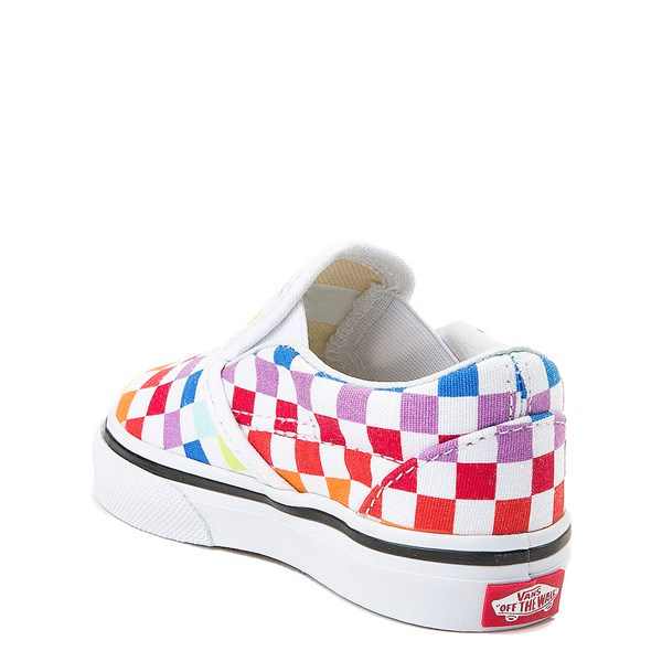 alternate view Vans Slip On Rainbow Checkerboard Skate Shoe - Baby / Toddler - MultiALT2