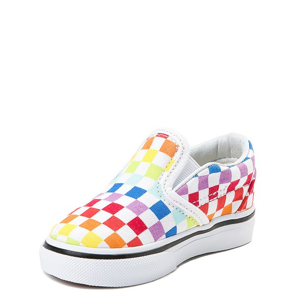 alternate view Vans Slip On Rainbow Checkerboard Skate Shoe - Baby / Toddler - MultiALT3