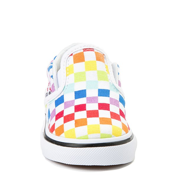 alternate view Vans Slip On Rainbow Checkerboard Skate Shoe - Baby / Toddler - MultiALT4