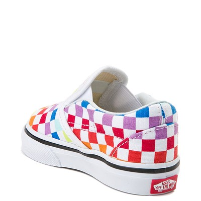 Alternate view of Vans Slip On Rainbow Checkerboard Skate Shoe - Baby / Toddler - Multi
