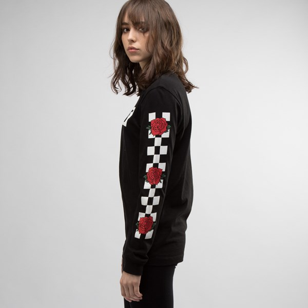 alternate view Womens Vans Rose Checkered Long Sleeve Tee - BlackALT2