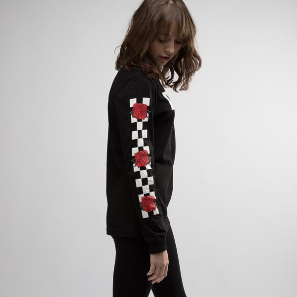 alternate view Womens Vans Rose Checkered Long Sleeve Tee - BlackALT3