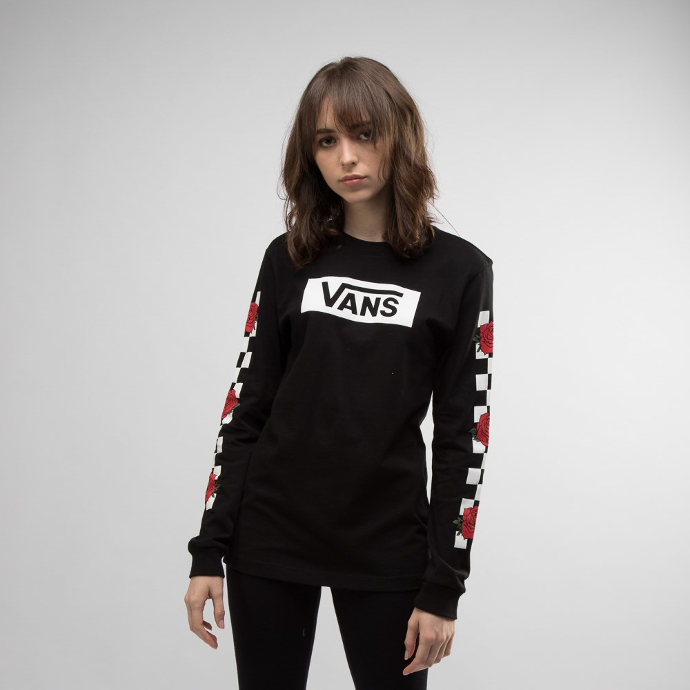 Womens Vans Rose Checkered Long Sleeve Tee - Black