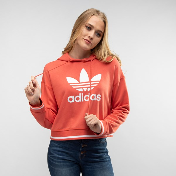 alternate view Womens adidas Trefoil Cropped HoodieALT4