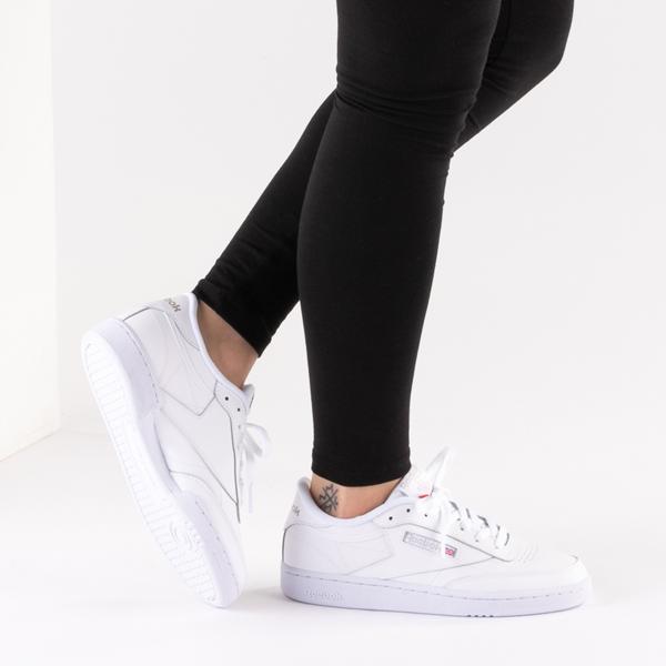 alternate view Womens Reebok Club C 85 Athletic Shoe - White / Light GrayB-LIFESTYLE1