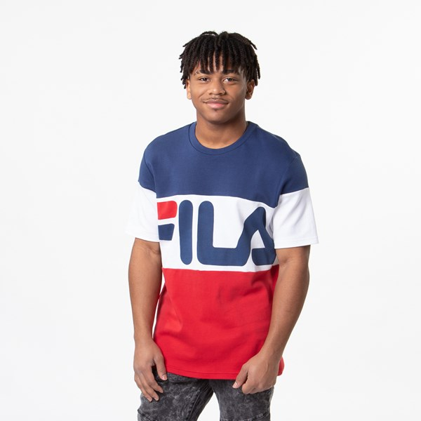 Mens Fila Vialli Tee - White / Navy / Red