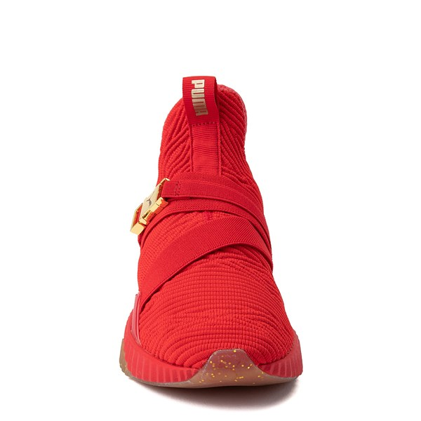 alternate view Womens Puma Defy Mid Athletic Shoe - Red / Gold / GumALT4