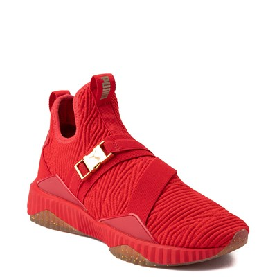 Alternate view of Womens Puma Defy Mid Athletic Shoe - Red / Gold / Gum