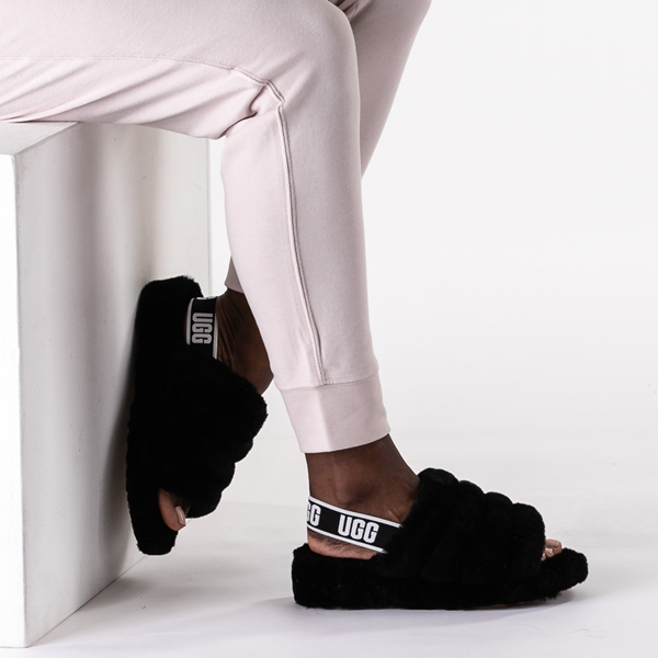 alternate view Womens UGG® Fluff Yeah Slide Sandal - BlackB-LIFESTYLE1