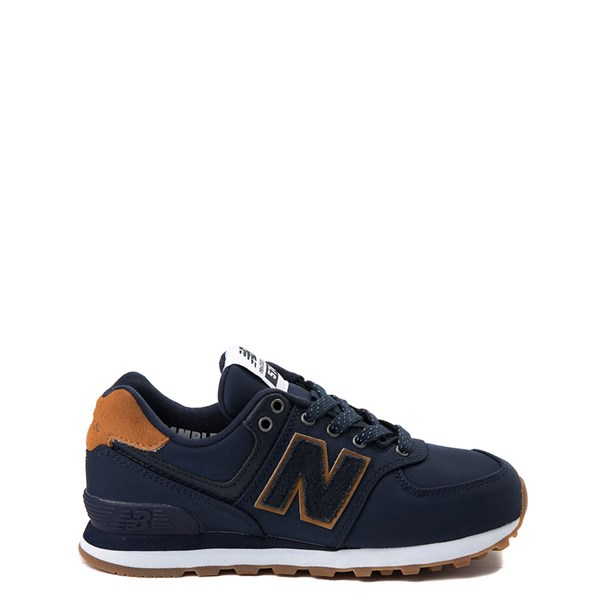 Main view of New Balance 574 Athletic Shoe - Little Kid - Navy / Tan