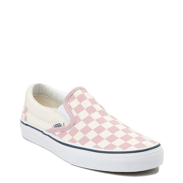 alternate view Vans Slip On Checkerboard Skate Shoe - Zephyr Pink / WhiteALT1