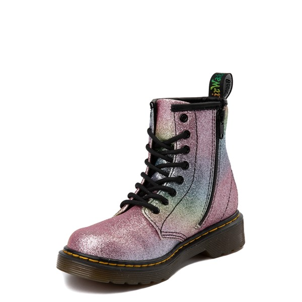 alternate view Dr. Martens 1460 8-Eye Glitter Boot - Girls Little Kid / Big Kid - Pink / MultiALT2
