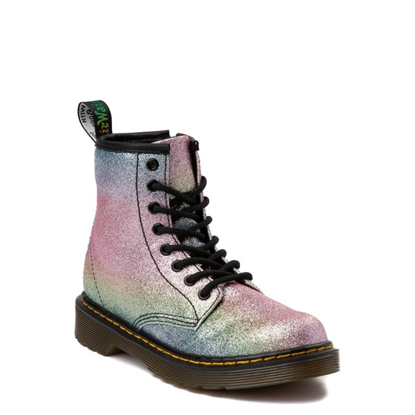 alternate view Dr. Martens 1460 8-Eye Glitter Boot - Girls Little Kid / Big Kid - Pink / MultiALT5