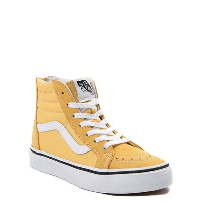 Alternate view of Youth/Tween Yellow Vans Sk8 Hi Zip Skate Shoe