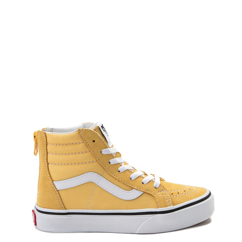 Youth/Tween Yellow Vans Sk8 Hi Zip Skate Shoe