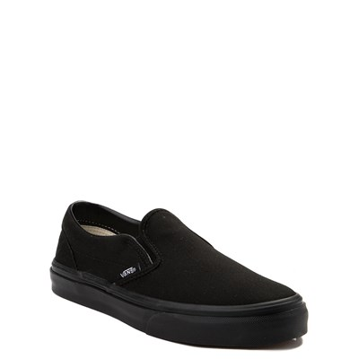 Alternate view of Vans Slip On Skate Shoe - Little Kid / Big Kid - Black Monochrome