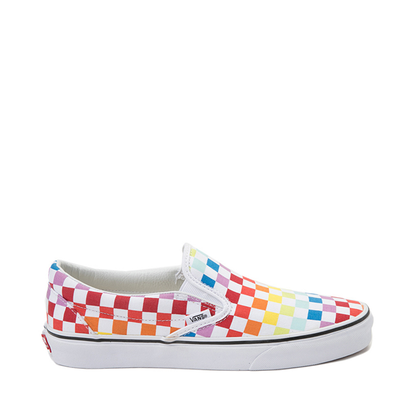 Vans Slip On Rainbow Checkerboard Skate Shoe - White / Multicolor
