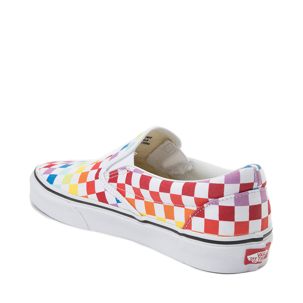 alternate view Vans Slip On Rainbow Checkerboard Skate Shoe - White / MulticolorALT1