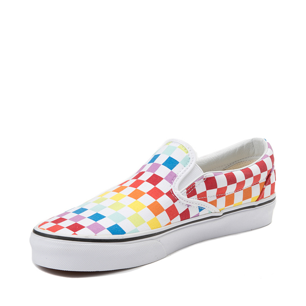 alternate view Vans Slip On Rainbow Checkerboard Skate Shoe - White / MulticolorALT2