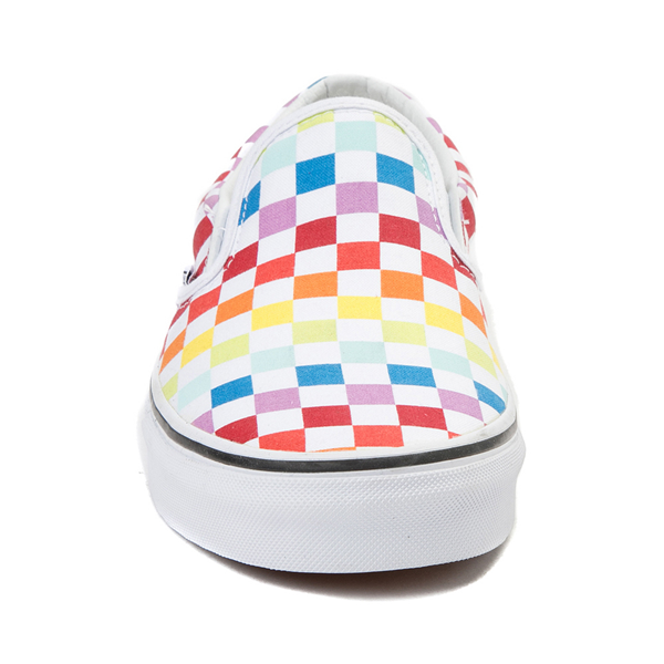 alternate view Vans Slip On Rainbow Checkerboard Skate Shoe - White / MulticolorALT4