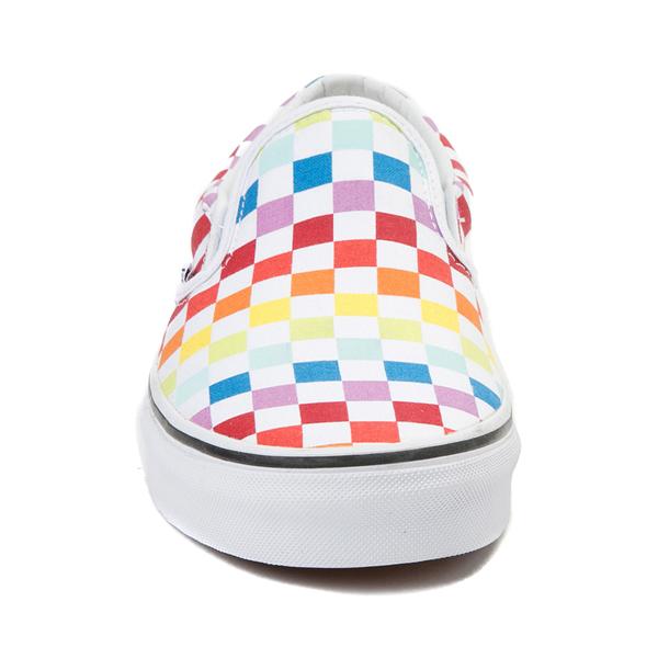 alternate view Vans Slip On Rainbow Checkerboard Skate Shoe - White / MulticolorALT4