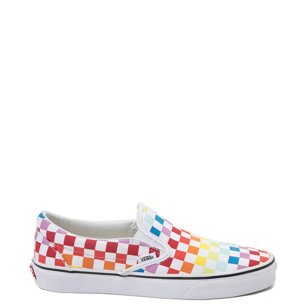 Main view of Vans Slip On Rainbow Checkerboard Skate Shoe - White / Multicolor