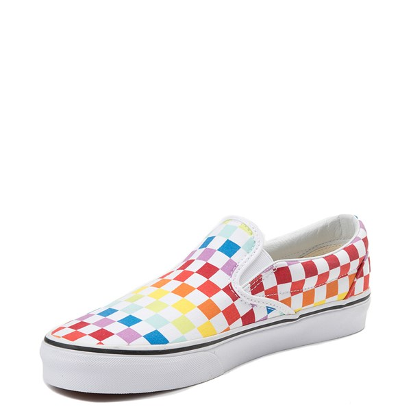 alternate view Vans Slip On Rainbow Checkerboard Skate Shoe - White / MulticolorALT3