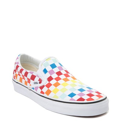 Alternate view of Vans Slip On Rainbow Checkerboard Skate Shoe - White / Multicolor