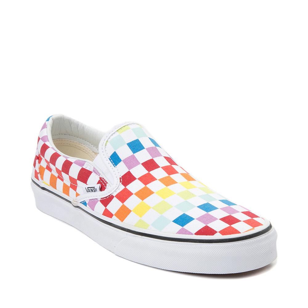 Vans Slip On Rainbow Checkerboard Skate Shoe - White / Multicolor ...