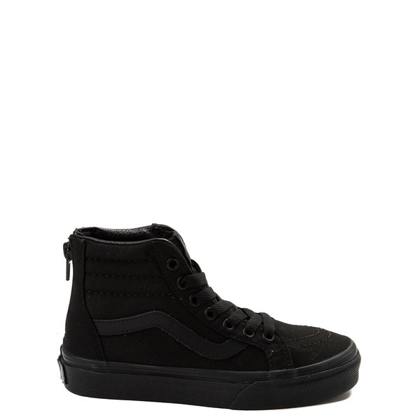 Default view of Vans Sk8 Hi Zip Skate Shoe - Little Kid / Big Kid - Black Monochrome