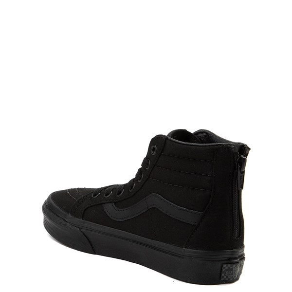 alternate view Vans Sk8 Hi Zip Skate Shoe - Little Kid - Black MonochromeALT2