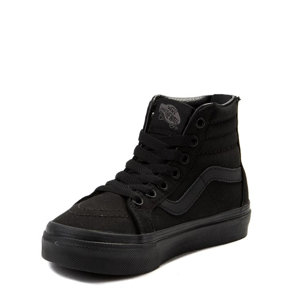 alternate view Vans Sk8 Hi Zip Skate Shoe - Little Kid - Black MonochromeALT3