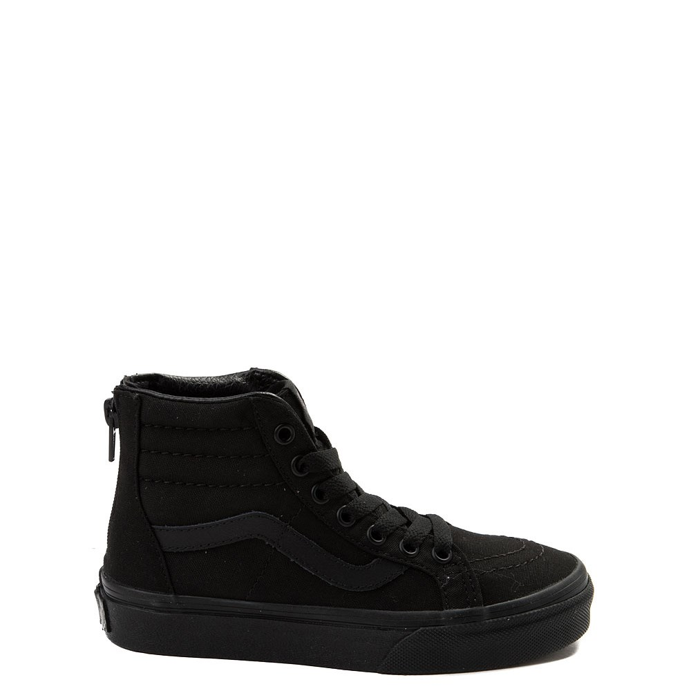 Vans Sk8 Hi Zip Skate Shoe - Little Kid - Black Monochrome
