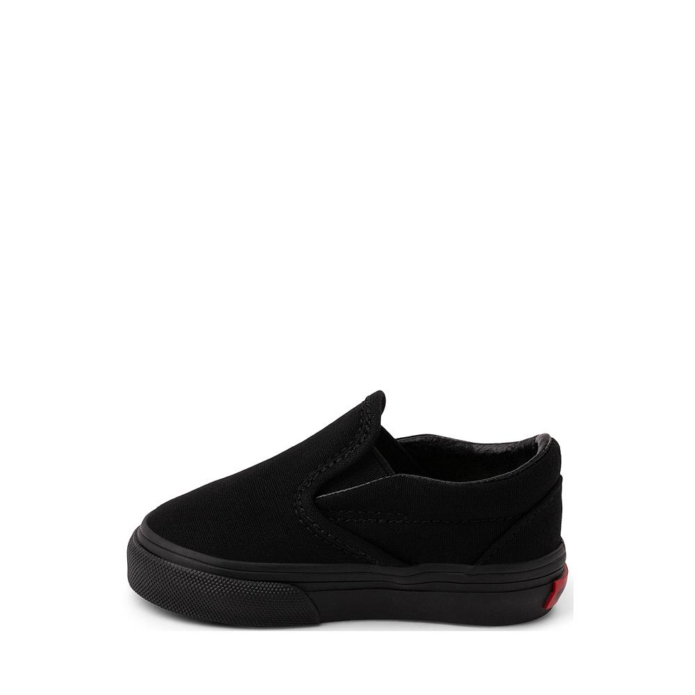 vans slip on black on black