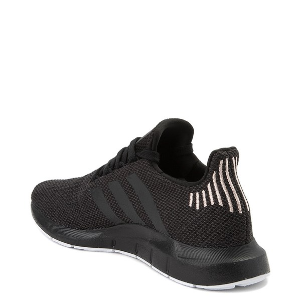 alternate view Womens adidas Swift Run Athletic Shoe - Black / Black / WhiteALT2