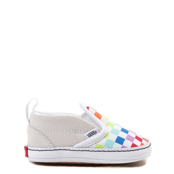 Main view of Vans Slip On V Rainbow Checkerboard Skate Shoe - Baby - Multi