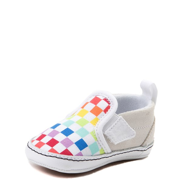 alternate view Vans Slip On V Rainbow Checkerboard Skate Shoe - Baby - MultiALT3