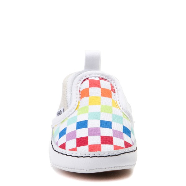 alternate view Vans Slip On V Rainbow Checkerboard Skate Shoe - Baby - MultiALT4