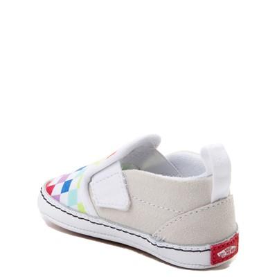 Alternate view of Vans Slip On V Rainbow Checkerboard Skate Shoe - Baby - Multi