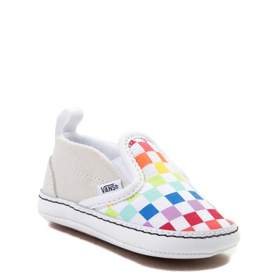Alternate view of Vans Slip On V Rainbow Checkerboard Skate Shoe - Baby - Multi