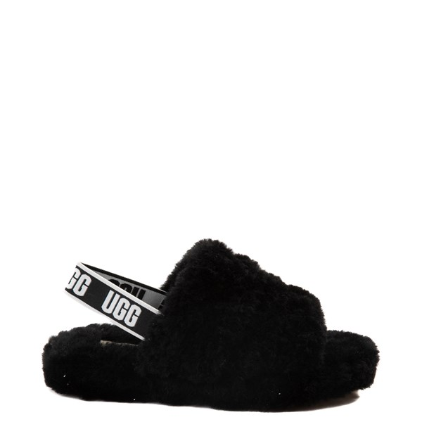 Main view of UGG® Fluff Yeah Slide Sandal - Little Kid / Big Kid - Black
