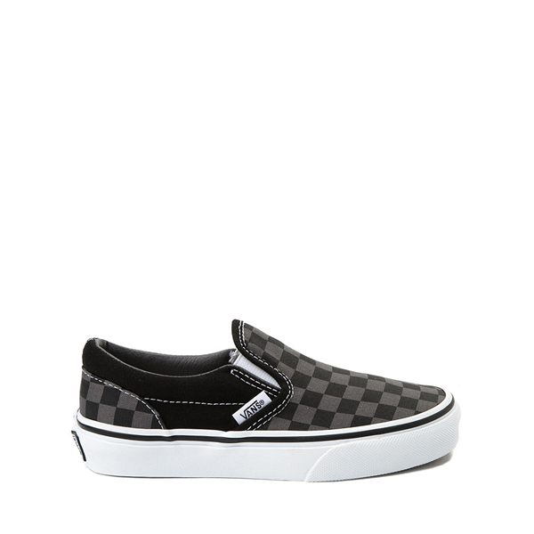 Main view of Vans Slip On Checkerboard Skate Shoe - Little Kid - Black / Gray