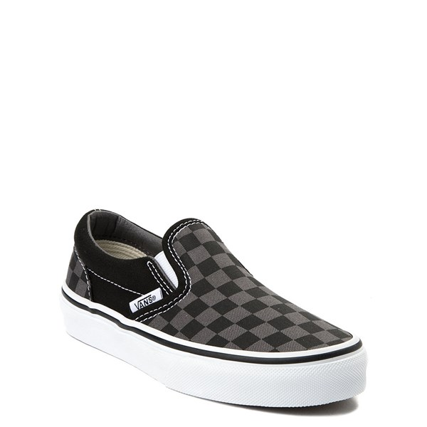 alternate view Vans Slip On Checkerboard Skate Shoe - Little Kid / Big Kid - Black / GrayALT1