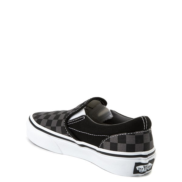 alternate view Vans Slip On Checkerboard Skate Shoe - Little Kid / Big Kid - Black / GrayALT2
