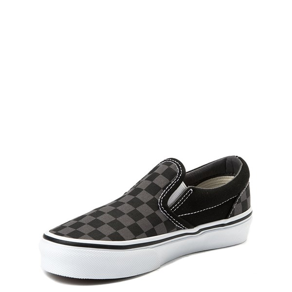 alternate view Vans Slip On Checkerboard Skate Shoe - Little Kid / Big Kid - Black / GrayALT3