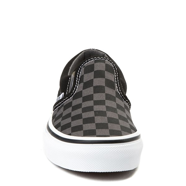 alternate view Vans Slip On Checkerboard Skate Shoe - Little Kid / Big Kid - Black / GrayALT4