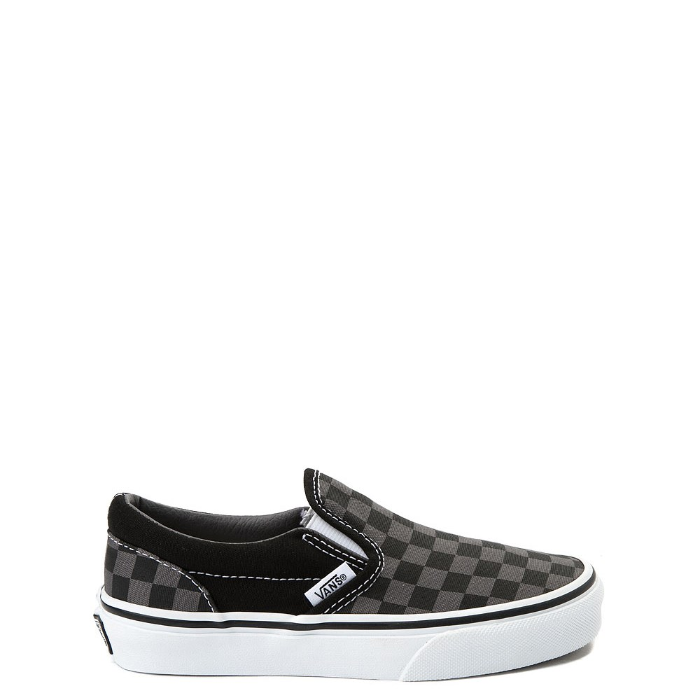 Vans Slip On Checkerboard Skate Shoe - Little Kid / Big Kid - Black / Gray