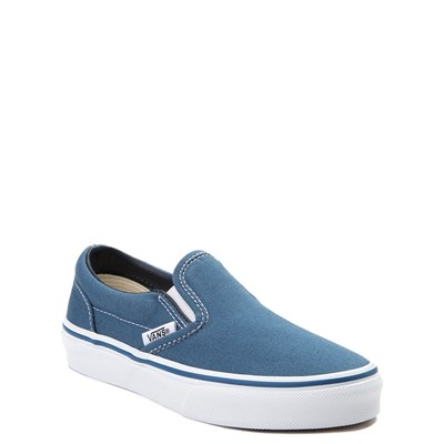 Alternate view of Vans Slip On Skate Shoe - Little Kid / Big Kid - Navy / White