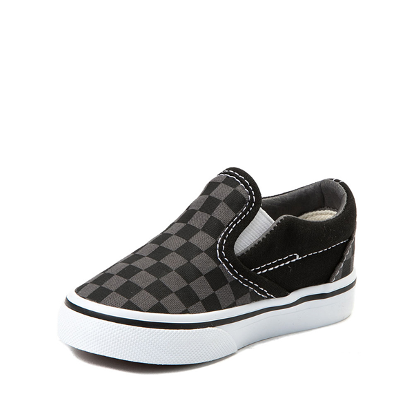 alternate view Vans Slip On Checkerboard Skate Shoe - Baby / Toddler - Black / GrayALT2
